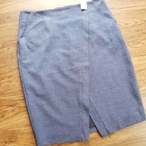 NWT LOFT pencil skirt navy asymmetrical front sz 8